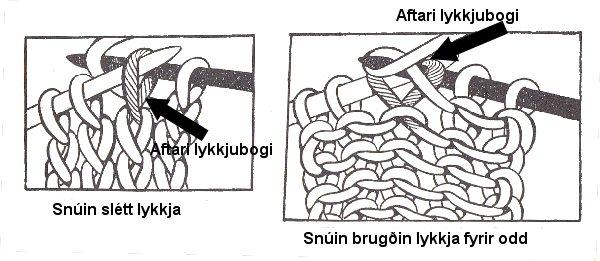 Vestrænt snúið prjón eða snúið sléttprjón