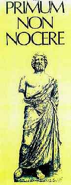Primum non nocere og mynd af Hippokratesi